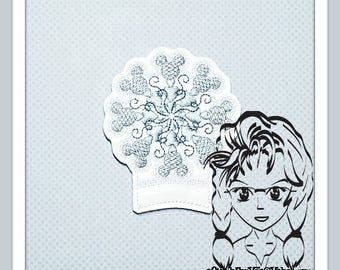 SNOWFLAKE Ear (Add On Only ~ 1 Piece) ITH Mr Miss Mouse Ears Headband ~ INSTANT Machine Embroidery Download Design by Carrie