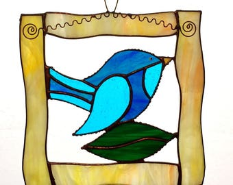 Stained Glass Blue Bird in an Open Frame