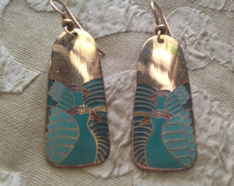 Laurel Burch MOONDOVES Cloisonne Earrings RARE Color Shape French Earwires Vintage Jewelry 1980s Turquoise Aqua Teal