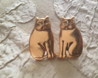 Laurel Burch Golden CAT Polished Brass Post Earrings Vintage Jewelry 1980s Gold