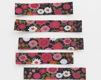 Floral Fabric Stickers | Black and pink floral print handmade sticker strips to use for planners, collage, scrapbooking, or packaging.