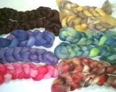 Merino Surprise Spinning Fiber Handdyed Mini Braid Comb Top Fiber Roving - 6 Braid - 1 oz each