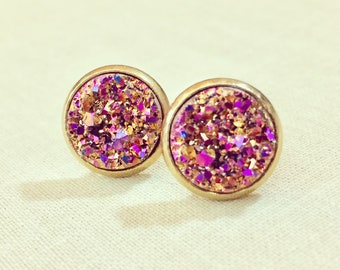 Sparkling Rose Gold Druzy Set in Gold Toned Surgical Steel Setting, Surgical Steel Posts