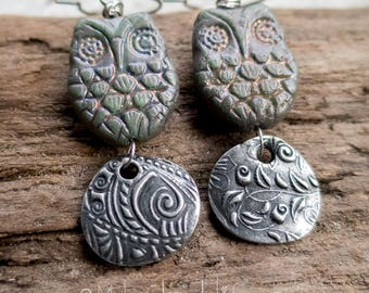 Adorable Owl Earrings || Woodland Owl Earrings | Pewter and Ceramic | Earthy | Organic | Boho | Hippie | Limited Edition | Earrings Under 25