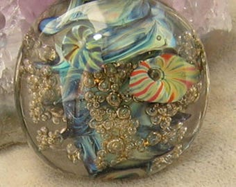 Bubble Deep Sea Barnacle  Reef Lampwork  Glass Focal Bead w murrine sra