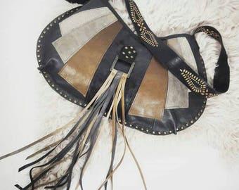 Vintage Patch Medium Half Moon Bag