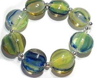 Handmade Glass SRA Lampwork  Beads, Marblehead Lentils