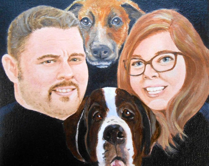Pet Portrait with Owner, Person, Family and Dog Portrait,  Pet and Owner Painting, Dog Portrait with Human, My Dog and Me. Child, group