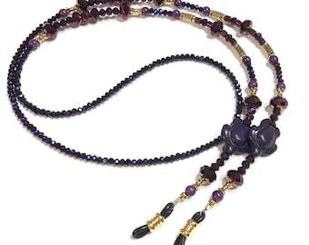 Eyeglass Chain Beaded Purple Turtle