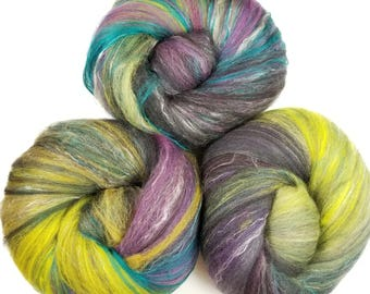 Potion's Class -- classic batts -- (4.6 oz.) organic polwarth wool, bamboo, yak, silk, sparkle.