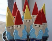 10 Handmade Pottery Gnome Wedding Favor - Garden Stake, Magnet or Ornament - 3-5 Weeks for Delivery