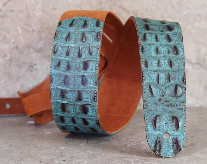 Teal Gator and Brown Leather Guitar Strap