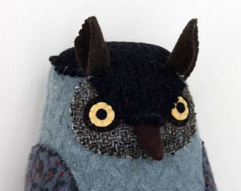 Soft Blue-Grey Owl wool pillow doll Softie plush