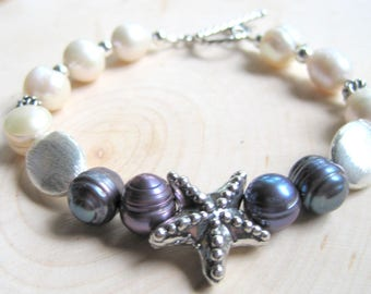 Pearl Starfish Bracelet, Peacock Pearls, White Freshwater Pearls, Sterling Silver Toggle Clasp, Destination Wedding, Nautical Jewelry