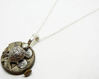 Steampunk Sea Turtle Pendant - Vintage Old Watch Altered Mixed Media Slide Jewelry with Necklace