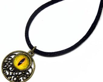 Eye Pendant Glass Dragon Eye Jewelry Yellow Dragon Eye Antiqued Brass Filigree Pendant with Necklace