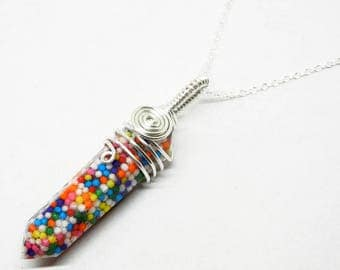 Wire Wrap Resin Crystal Pendant - Candy Sprinkles - 22 Inch Sterling Silver Necklace
