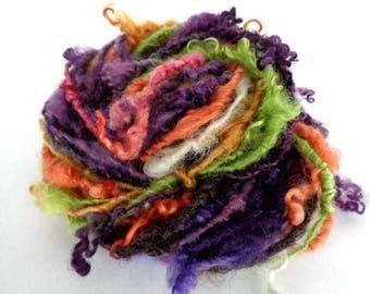 Handspun yarn, art yarn, curly yarn, chunky yarn, bulky yarn, hand painted yarn, novelty yarn, green, purple, orange, A DAY OUT, 28yds, 3oz