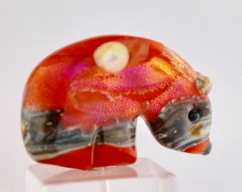 Glass Spirit Bear Fetish Southwestern Style Handmade Bead or Sculpture by Marcy Lamberson