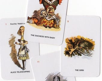 SALE 4pcs 70s Vintage Tiny ALICE IN Wonderland Fantastic Cards