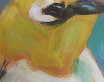 Yellow Bird Original Acrylic Painting Nature art Wildlife