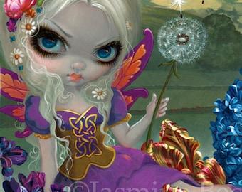 Three Wishes dandelion flower child fairy art print by Jasmine Becket-Griffith 12x16 BIG 3 wishes festival fest faery