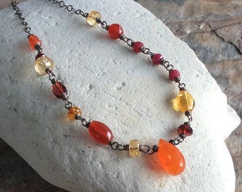 Red, Yellow, Orange MULTI GEMSTONE necklace, Citrine, Carnelian, Orange Garnet, Ruby, Red Garnet, Yellow Tourmaline,