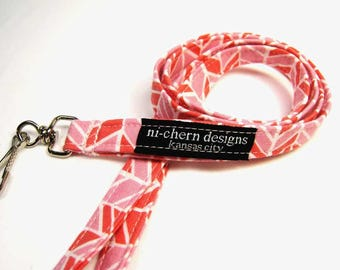 Short or Long Fabric Lanyard for ID Whistle Keys - Pink Herringbone Chevron