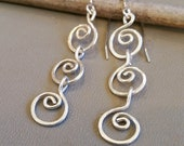 Three Little Swirls Long Dangle Earrings, Mother's Day Gift for Her Long Silver Earrings for Women, Sterling Silver Chain Earrings, for Mom