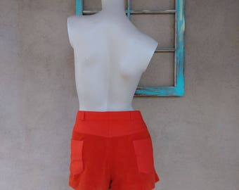 Vintage 1970s Mens Shorts 70s Head Tennis Wear Orange Hot Pants Polyester Terry Cloth W36