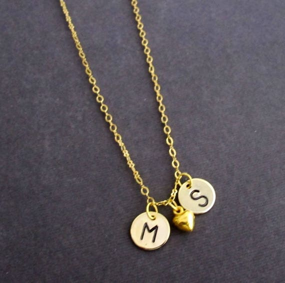 Gold Initial Necklace,Gold Heart Initial Necklace,2 Two Initials Necklace,Mother and Kids gift,Valentines Day Gift, Free Shipping In USA
