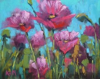 Original Pastel Painting Poppy Meadow  Landscape 6x8 by Karen Margulis psa
