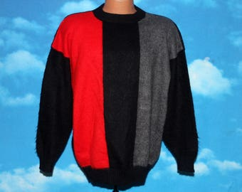 100% Alpaca Made in Peru Color Block Josefina Robles Pullover Sweater Vintage 1970s