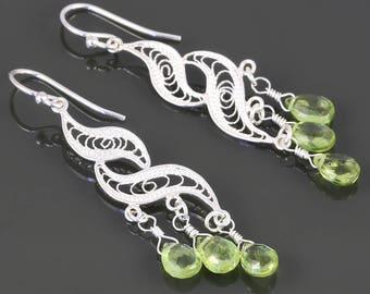 Peridot Chandelier Earrings. Sterling Silver. Turkish Filigree. Genuine Gemstone. August Birthstone. f17e009