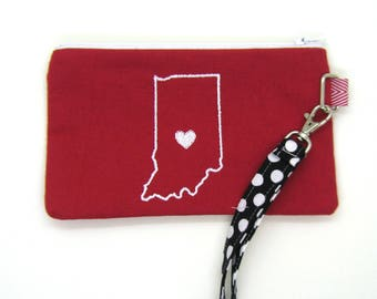 Clearance - Sale - Gift - Gracie Designs Wristlet  - Indiana red and white