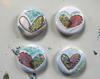 heart button with pin back - single button - broken hearts, healed hearts, patchwork hearts