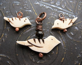 Carved Bone Bird Fetishes - 3 pieces -