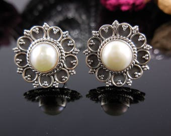 Pearl sterling silver post earrings