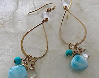 Larimar Teardrop Hoops