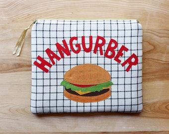 Hangurber zippered bag - Hamburger, burger, purse, pouch, travel, toiletry, gold, plaid, food