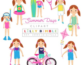 40% off Summer Days Girls clipart with surfer girl, swimming, beach, bicycle, playing clip art Instant Download