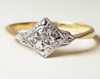 Art Deco Geometric Diamond Ring, 18 Carat Gold Platinum and Diamond Engagement Ring Approx. Size US 7.25