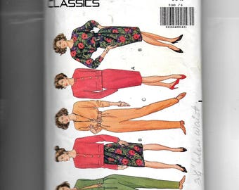 Butterick Misses' /Misses' Petite Jacket, Top, Pants, Skirt With and Without Mock Wrap Front Overlay Pattern 5180