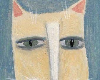 Yellow Cat, Original Painting, Cat Folk Art, Whimsical Portrait, Outsider Art, Kitty Illustration, Expressive Painting, Animal Decor