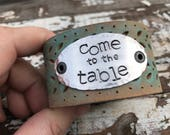 Stamped Leather Cuff--Word Cuff-Come to the Table