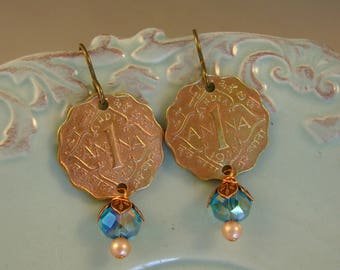 Always Anna - 1944 British India Anna Coins Blue Glass Beads Recycled Repurposed Assemblage Jewelry Earrings