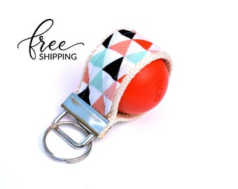 LippyLoop™ EOS Holder Keychain, Coral Mint Gold Triangles  | Free Shipping