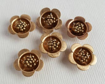 Vintage red brass flower cabochons