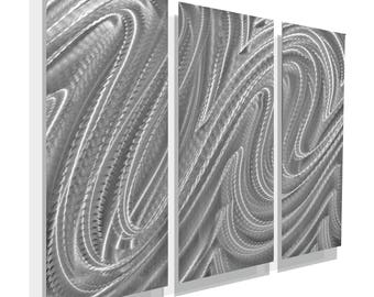 Silver Modern Metal Wall Sculpture, Contemporary Metal Wall Art, Abstract Wall Accent, Home Decor, FREE SHIPPING - OOAK 833 by Jon Allen