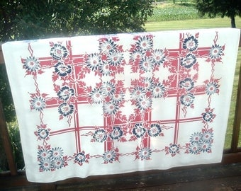Vintage Tablecloth Red White Blue Design with Flowers 48 x 49 inches